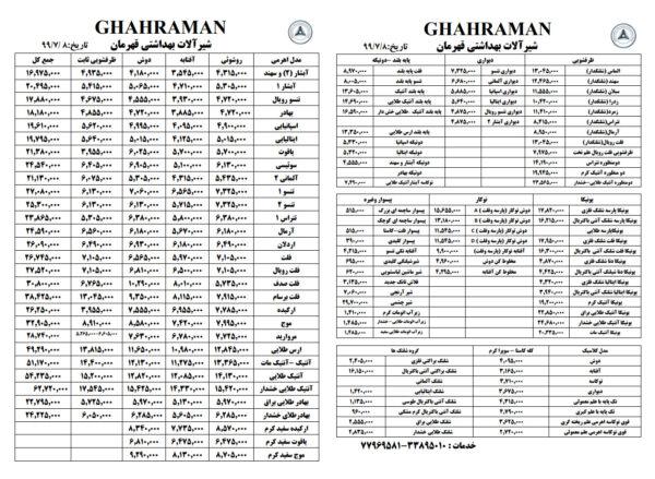 لیست قیمت قهرمان مهر 99