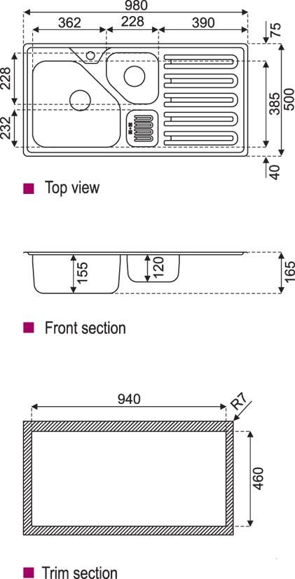 سینک استیل البرز مدل 824 توکار - 3