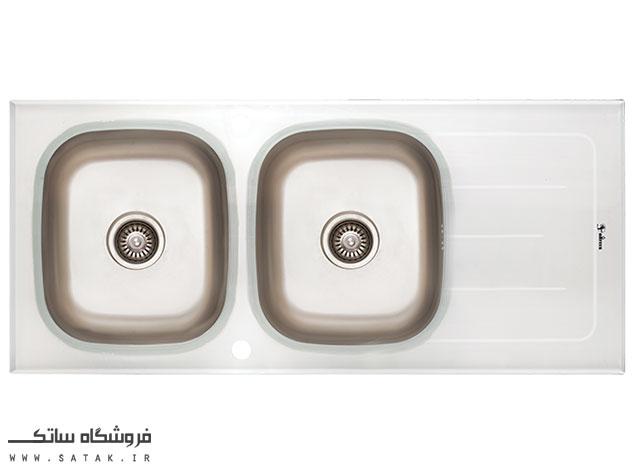 سینک ظرفشویی شیشه ای سفید داتیس مدل DSG119
