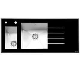 سینک ظرفشویی ایلیا استیل توکار شیشه ای مدل 8023
