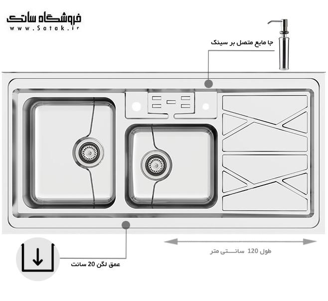 سینک ظرفشویی کن 9031 p روکار