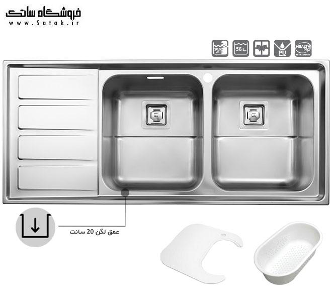 سینک ظرفشویی استیل البرز 764 توکار